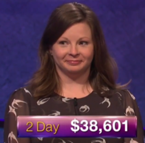 Betsy Knudson, winner of the September 20, 2017 Jeopardy! episode.