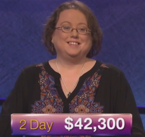 Laura Kelsay, winner of the September 12, 2017 episode of Jeopardy!