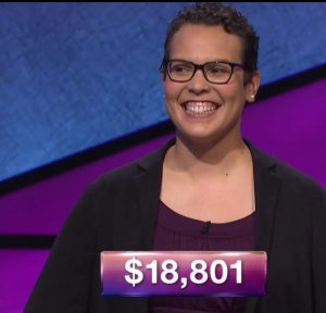 Erica Irving, tonight's Jeopardy! winner (for the October 26, 2017 episode.)