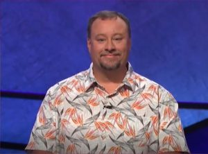 Marcus Gresham's shirt on Jeopardy on November 28, 2017.