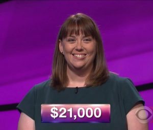 Kate O'Connor, today's Jeopardy! winner (for the December 18, 2017 episode.)