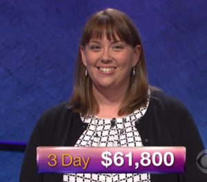 Kate O'Connor, today's Jeopardy! winner (for the December 20, 2017 episode.)