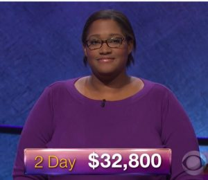 LaKedra Pam, today's Jeopardy! winner (for the December 12, 2017 episode.)