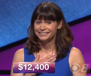 Natalie Ballas, today's Jeopardy! winner (for the December 25, 2017 episode.)