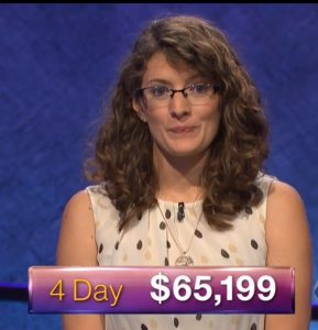 Rachel Lindgren, today's Jeopardy! winner (for the January 24, 2018 episode.)