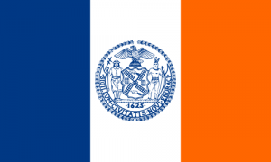 The flag of New York City, as used in Final Jeopardy! on February 7, 2018.