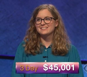 Emily Milan, today's Jeopardy! winner (for the March 30, 2018 episode.)