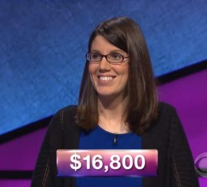 Lisa Mueller, today's Jeopardy! winner (for the March 19, 2018 episode.)