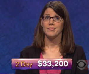 Lisa Mueller, today's Jeopardy! winner (for the March 20, 2018 episode.)