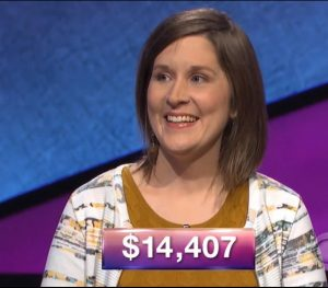 Rebecca Zoshak, today's Jeopardy! winner (for the March 21, 2018 game.)