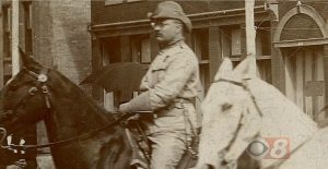 A close-up photograph of a man on horseback, used during Final Jeopardy on April 3, 2018.