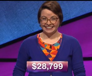 Kate Jovin, today's Jeopardy! winner (for the April 23, 2018 episode.)