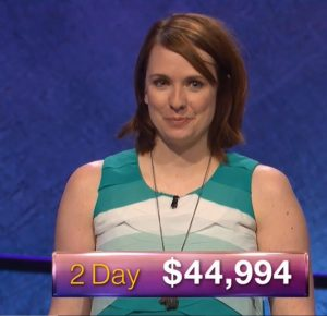 Kristin Robbins, today's Jeopardy! winner (for the April 6, 2018 game).