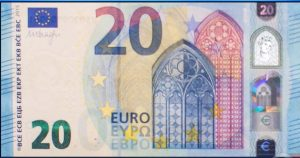 A 20-euro note, as displayed during Final Jeopardy! on May 31, 2018.