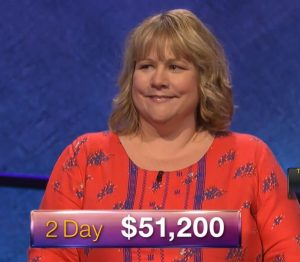 Virginia Cummings, today's Jeopardy! winner (for the May 28, 2018 episode.)