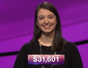 Lauren Kiehna, today's Jeopardy! winner (for the July 6, 2018 episode.)