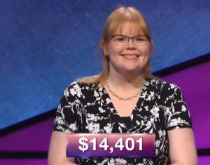 Marilyn Maher, today's Jeopardy! winner (for the July 5, 2018 episode.)