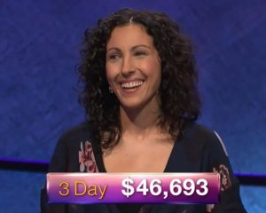 Michelle Cabral, today's Jeopardy! winner (for the July 16, 2018 episode.)