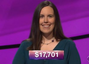 Emily Frey, today's Jeopardy! winner (for the October 30, 2018 game.)