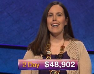 Emily Frey, today's Jeopardy! winner (for the October 31, 2018 game.)