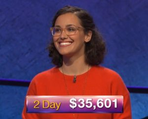 Adriana Ciccone, today's Jeopardy! winner (for the November 29, 2018 game.)