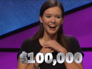 Claire Sattler, today's Jeopardy! winner (for the November 20, 2018 game.)
