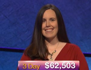 Emily Frey, today's Jeopardy! winner (for the November 1, 2018 episode.)