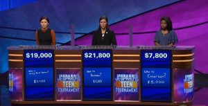 Jeopardy's final scores from November 19, 2018.