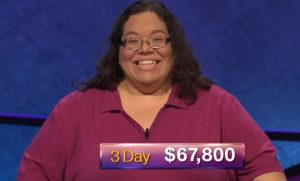 Mary Ann Borer, today's Jeopardy! winner (for the November 21, 2018 game.)
