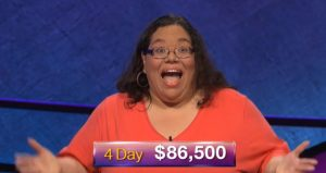 Mary Ann Borer, today's Jeopardy! winner (for the November 22, 2018 game.)