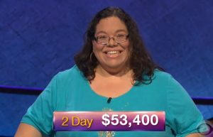 Mary Ann Borer, today's Jeopardy! winner (for the November 6, 2018 game.)