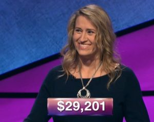 Staci Huffman, today's Jeopardy! winner (for the December 7, 2018 episode.)