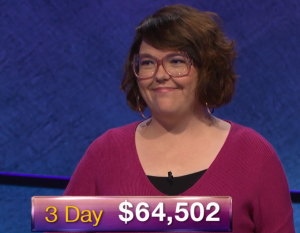 Anneke Garcia, today's Jeopardy! winner (for the January 14, 2019 game.)
