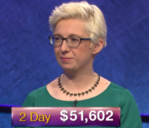 Jill Regan, today's Jeopardy! winner (for the January 29, 2019 game.)