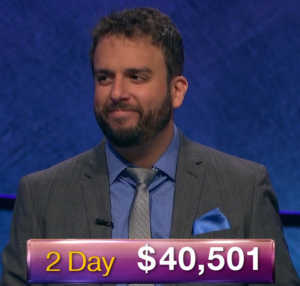 Jonathan Dinerstein, today's Jeopardy! winner (for the January 2, 2019 game.)