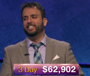 Jonathan Dinerstein, today's Jeopardy! winner (for the January 3, 2019 game.)