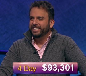 Jonathan Dinerstein, today's Jeopardy! winner (for the January 4, 2019 game.)