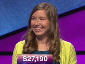 Meghan Schulz, today's Jeopardy! winner (for the January 31, 2019 game.)