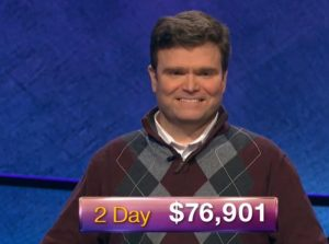 Eric R. Backes, today's Jeopardy! winner (for the February 12, 2019 game.)