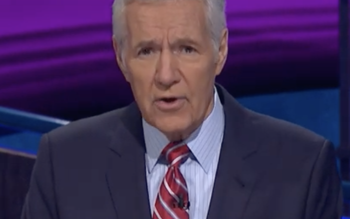 Alex Trebek speaks to Jeopardy! fans on March 6, 2019.