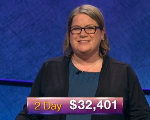 Dana Wayne, today's Jeopardy! winner (for the March 6, 2019 game.)