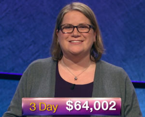 Dana Wayne, today's Jeopardy! winner (for the March 7, 2019 game.)