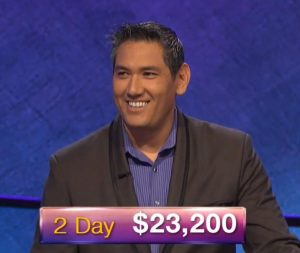 Dave Scatena, today's Jeopardy! winner (for the March 25, 2019 game.)