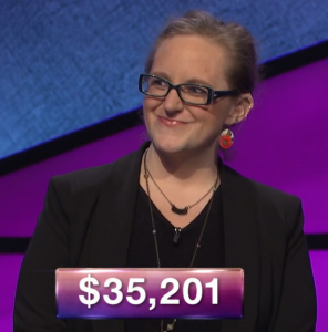 Lindsey Shultz, today's Jeopardy! winner (for the March 14, 2019 game.)