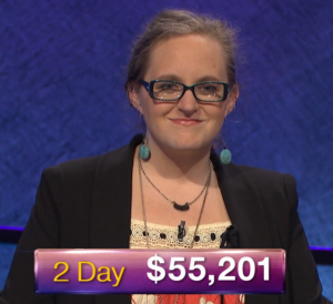 Lindsey Shultz, today's Jeopardy! winner (for the March 15, 2019 game.)