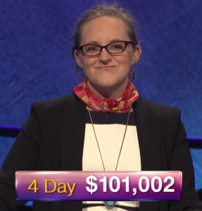 Lindsey Shultz, today's Jeopardy! winner (for the March 19, 2019 game.)