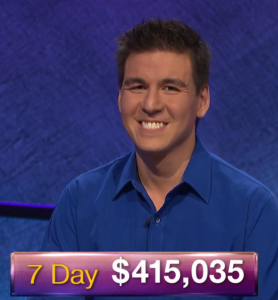 James Holzhauer, today's Jeopardy! winner (for the April 12, 2019 game.)