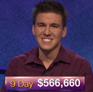 James Holzhauer, today's Jeopardy! winner (for the April 16, 2019 game.)