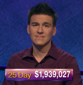 James Holzhauer, today's Jeopardy! winner (for the May 22, 2019 game.)