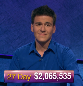 James Holzhauer, today's Jeopardy! winner (for the May 24, 2019 game.)